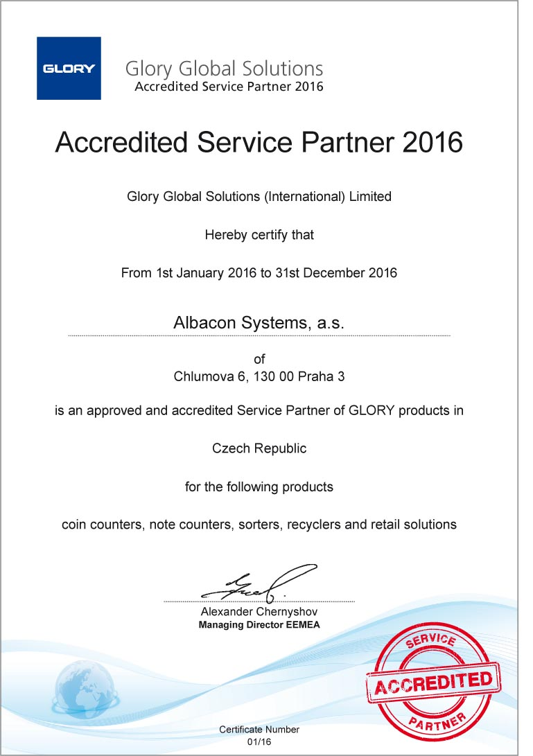 Certifik�t glory global solutions - accredited service partner 2016
